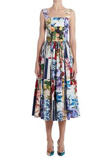 Dolce & Gabbana Dolce&Gabbana Patchwork Print Cotton Poplin Fit & Flare Midi Dress