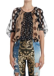 Dolce & Gabbana Dolce&Gabbana Patchwork Print Silk Chiffon Blouse