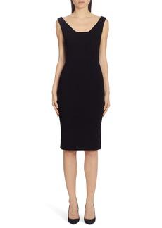 Dolce & Gabbana Dolce&Gabbana Square Neck Wool Crepe Sheath Dress