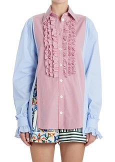 Dolce & Gabbana Dolce&Gabbana Stripe Ruffle Trim Poplin Shirt