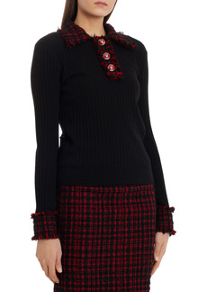 Dolce & Gabbana Dolce&Gabbana Tweed Trim Rib Sweater