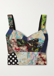 Dolce & Gabbana Patchwork Jacquard, Denim And Twill Bustier Top