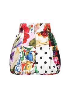 Dolce & Gabbana Printed Patchwork Cotton Piquet Shorts