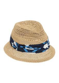 Dolce & Gabbana Raffia Bucket Hat W/ Silk Hatband