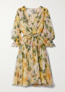 Dolce & Gabbana Wrap-effect Belted Floral-print Silk-chiffon Dress