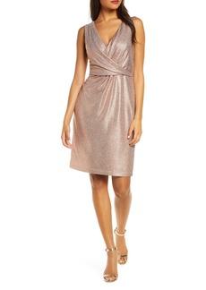 Donna Ricco Sleeveless Metallic V-Neck Sheath Dress