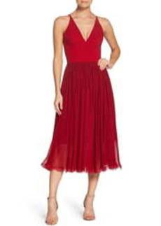 Women's Dress The Population Alicia Mixed Media Midi Dress