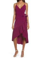 Dress The Population Delphine Crepe Wrap Midi Dress