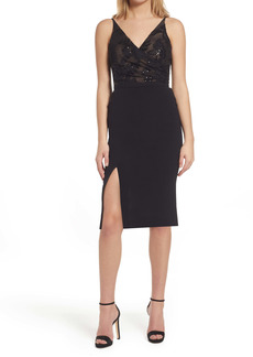 Dress the Population Giulia Sequin Bodice Crepe Sheath Dress