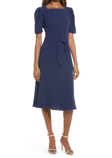 Dress the Population Margherita Square Neck Belted Midi Dress