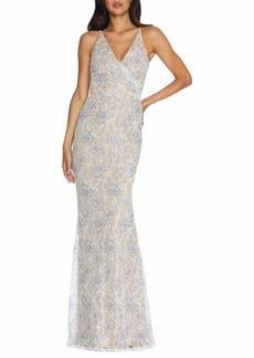 Dress The Population Sequin Lace Faux Wrap Gown