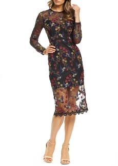 Dress the Population Sophia Embroidered Sheer Midi Dress