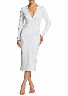 Women's Dress The Population Elizabeth Plunge Midi Dress