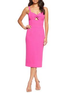 Women's Dress The Population Eve Sweetheart Twist Front Sleeveless Midi Sheath Dress