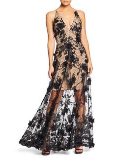 Women's Dress The Population Sidney Deep V-Neck 3D Lace Gown