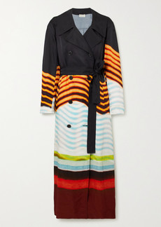 Dries Van Noten Rolana Belted Striped Faille Trench Coat