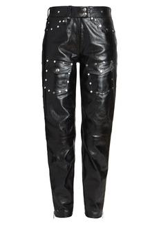 Dries Van Noten Studded Cargo Leather Pants