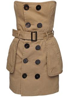 Dsquared2 Strapless Cotton Twill Trench Mini Dress