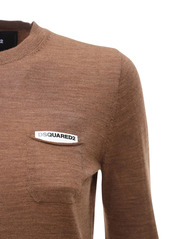 Dsquared2 Wool Flat Knit Sweater W/ Patch Pocket