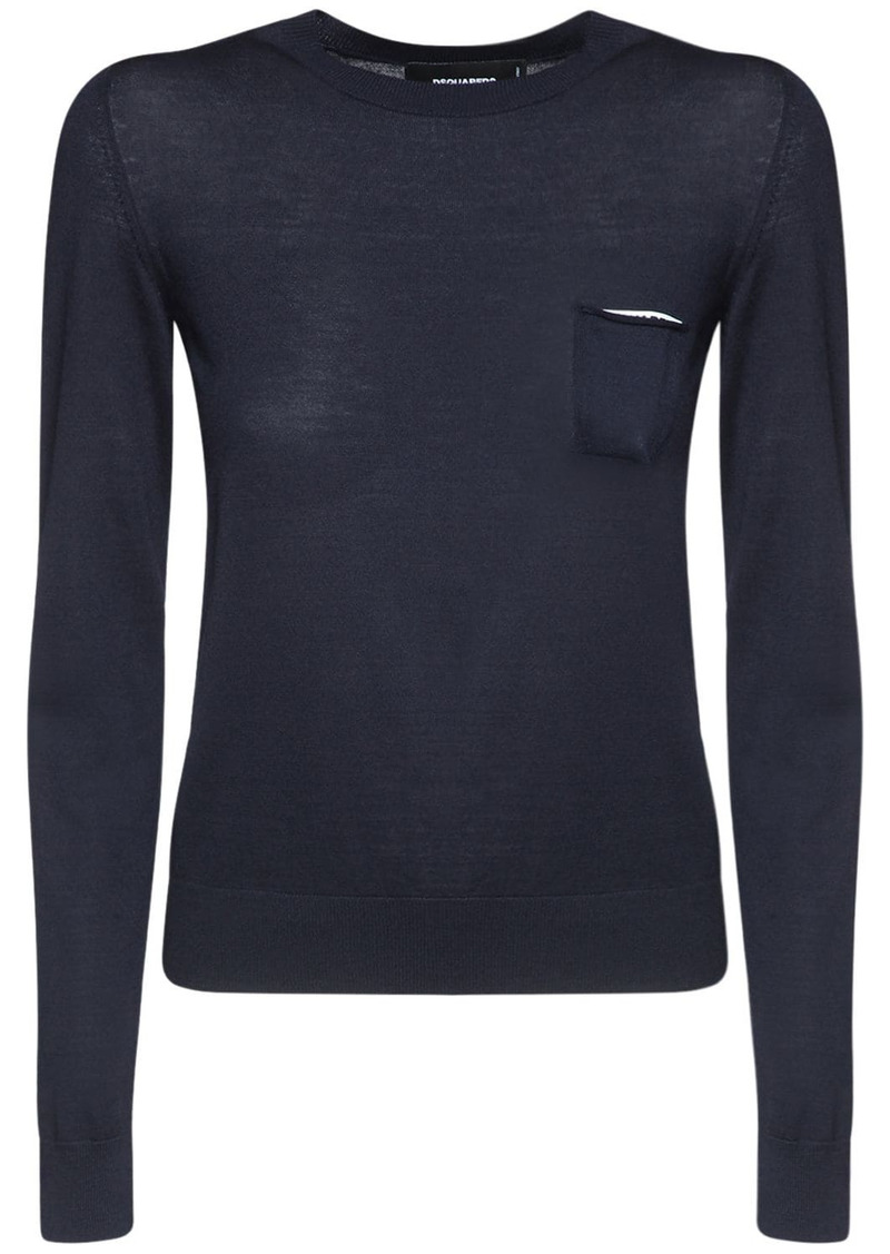 Dsquared2 Wool Flat Knit Sweater W/ Patch Pocket