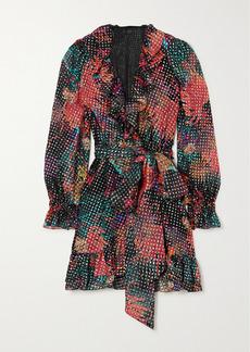 Dundas Ruffled Wrap-effect Metallic Fil Coupé Silk-blend Georgette Mini Dress