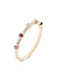 EF Collection 5-Bezel Rainbow Diamond Stack Ring