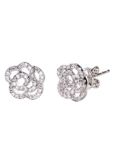 EF Collection Diamond Rose Stud Earrings