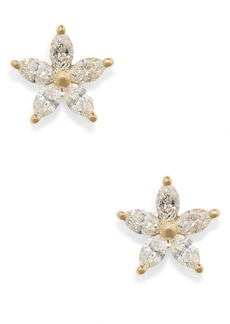 EF Collection Marquise Diamond Flower Stud Earrings