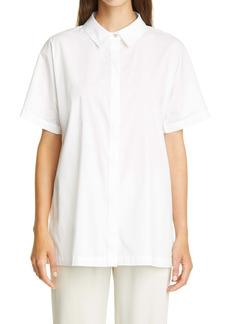 Petite Women's Eileen Fisher Classic Collar Stretch Organic Cotton Shirt