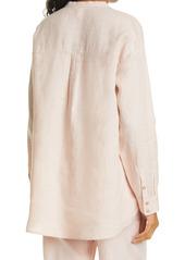 Eileen Fisher Band Collar Linen Shirt