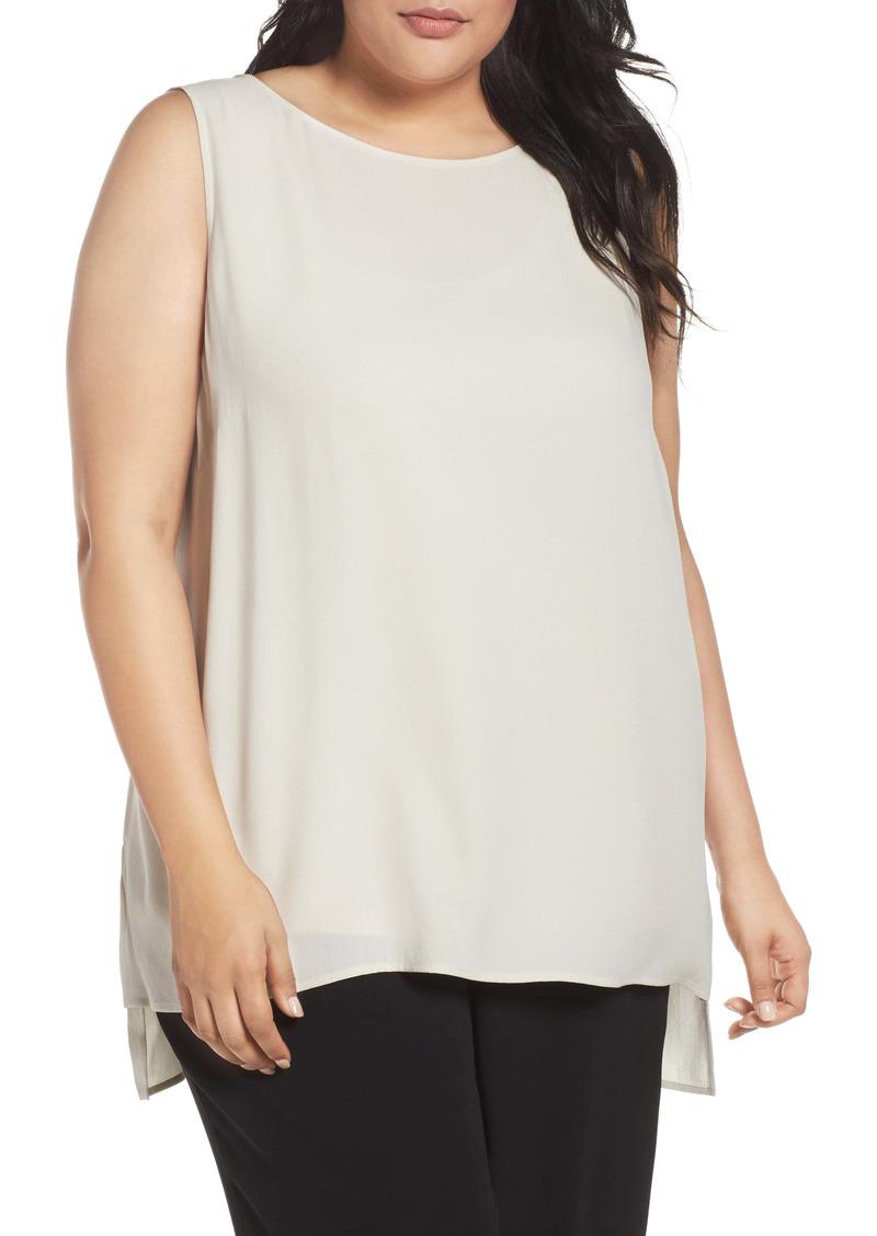 Eileen Fisher Bateau Neck Long Silk Shell (Plus Size)