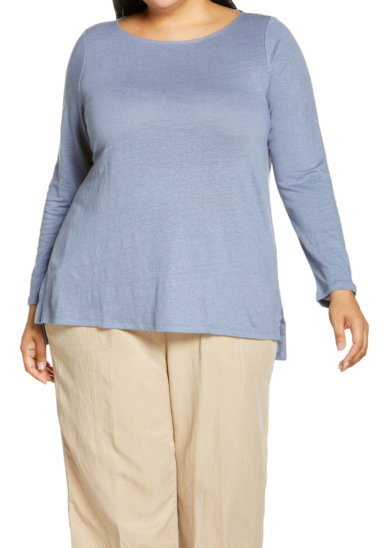 Eileen Fisher Boat Neck Organic Linen Top (Plus Size)