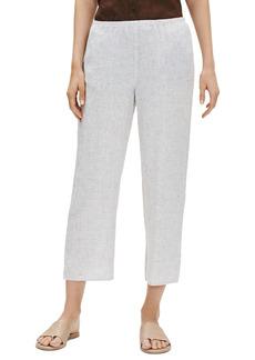 Eileen Fisher Check Organic Linen Crop Straight Leg Pants (Regular & Petite)