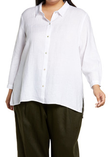 Eileen Fisher Classic Collar Organic Linen Button-Up Shirt (Plus Size)