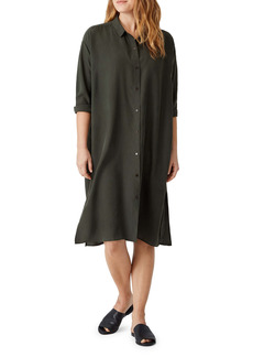 Eileen Fisher Classic Long Sleeve Silk Shirtdress
