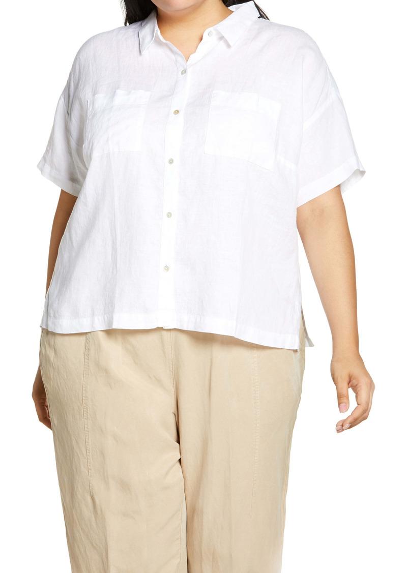 Eileen Fisher Classic Short Sleeve Linen Button-Up Shirt