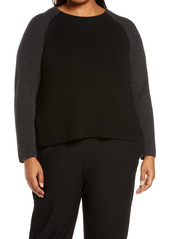 Eileen Fisher Colorblock Merino Wool Pullover (Plus Size)