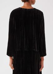 Eileen Fisher Crinkle Velvet Box Top