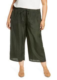 Eileen Fisher Crop Silk Wide Leg Pants (Plus Size)