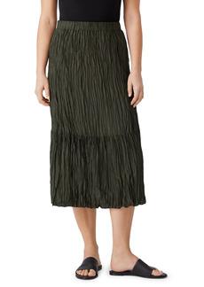 Eileen Fisher Crushed Silk Habutai Tiered Skirt