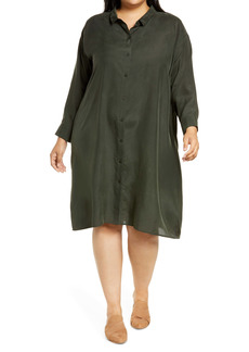 Eileen Fisher Habutai Long Sleeve Washed Silk Shirtdress (Plus Size)