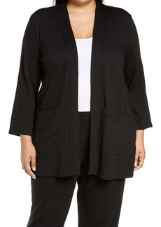 Eileen Fisher High Collar Knit Long Jacket (Plus Size)