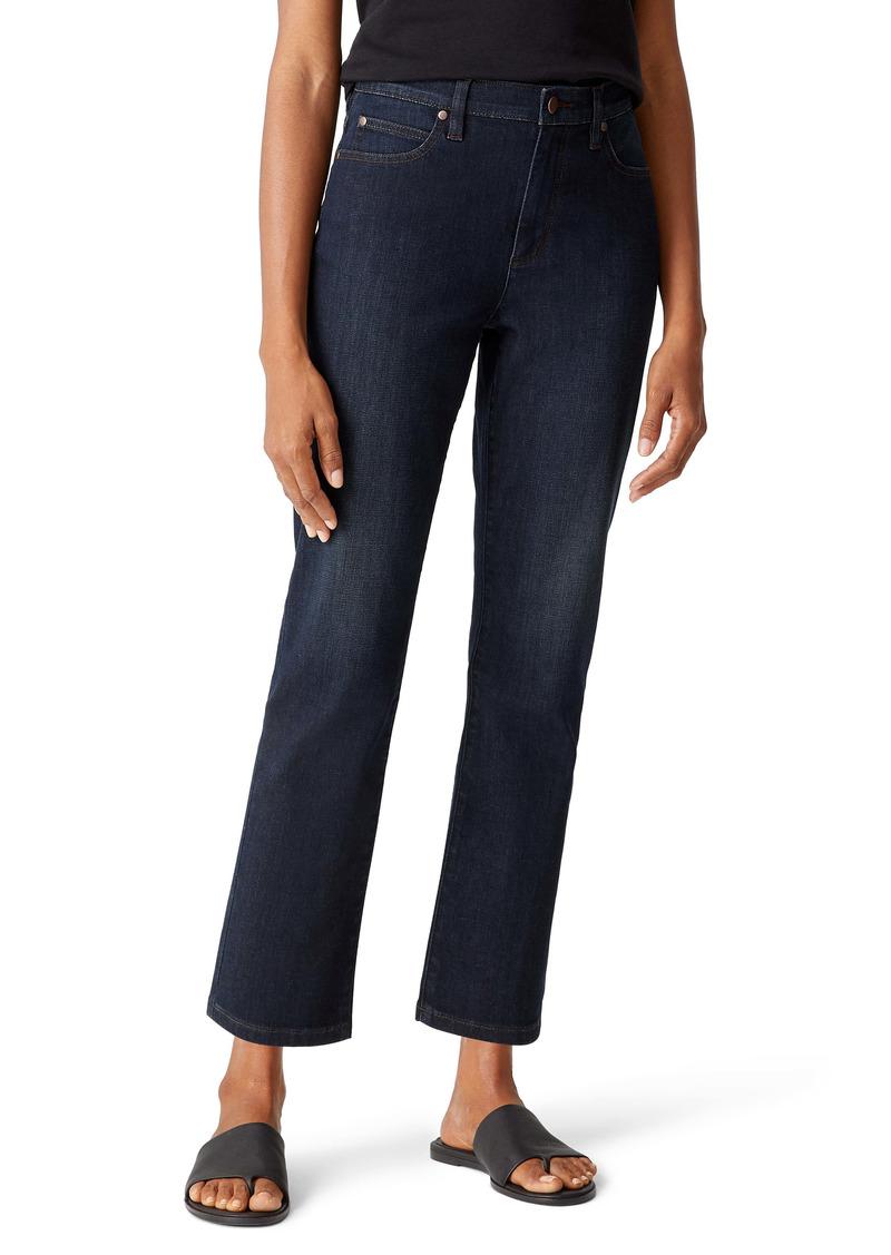 Eileen Fisher High Waist Ankle Straight Leg Jeans