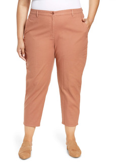 Eileen Fisher High Waist Organic Cotton Blend Ankle Pants (Plus Size)