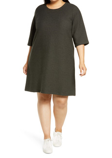 Eileen Fisher Jacquard Weave T-Shirt Dress (Plus Size)