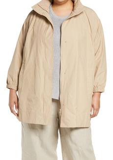 Eileen Fisher Organic Cotton & Nylon Hooded Coat (Plus Size)