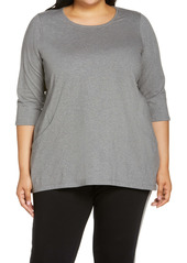 Eileen Fisher Organic Cotton Blend Crewneck Tunic Top (Plus Size)