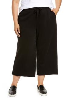 Eileen Fisher Organic Cotton Knit Crop Wide Leg Pants (Plus Size)