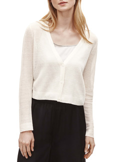 Eileen Fisher Organic Linen Blend Crepe Crop Cardigan (Regular & Petite)