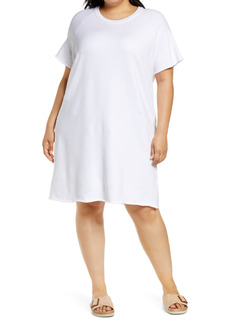 Eileen Fisher Raglan Organic Cotton Sweatshirt Dress (Plus Size)